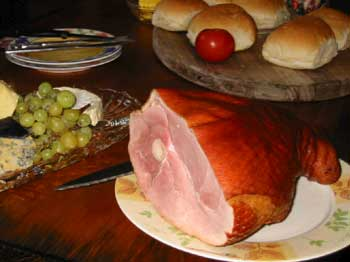 Ham on a table